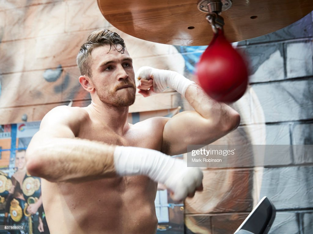 Callum Smith takes part in a training session at Gallaghers Gym on August 23, 2017 in Bolton, England.