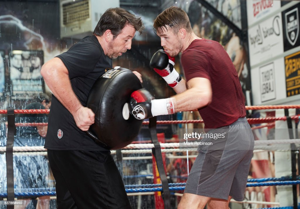 Callum Smith takes part in a training session with his trainer Joe Gallagher at Gallaghers Gym on August 23, 2017 in Bolton, England.