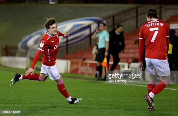 Callum Styles of Barnsley celebrates with Callum Brittain after scoring their team's first goal during the Sky Bet Championship match between...