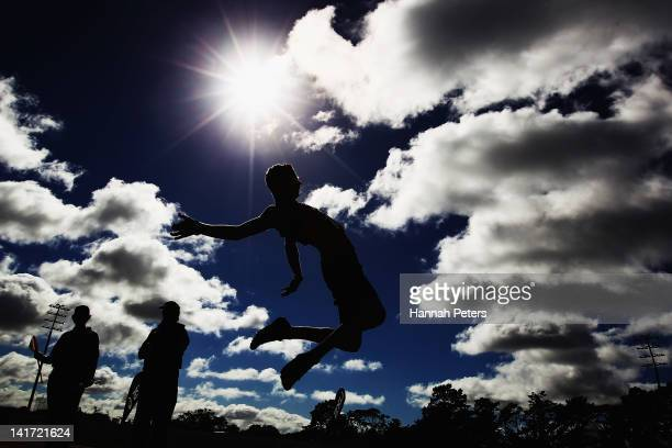 Callum Taylor of Waikato BOP competes in the Men's Under 17 Long Jump final during day one of the New Zealand Track and Field Championships-Olympic...