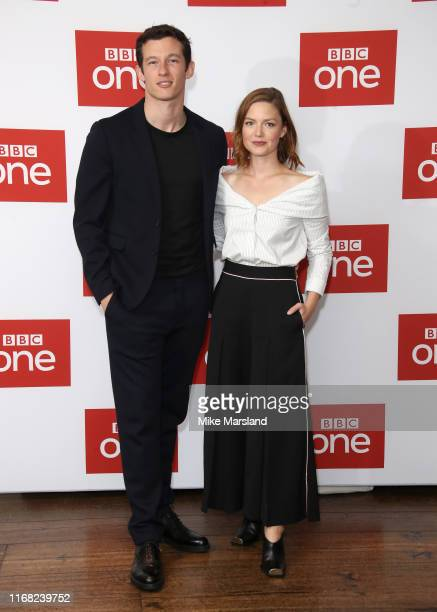 Callum Turner and Holliday Grainger attend The Capture Photocall at The Soho Hotel on August 15 2019 in London England