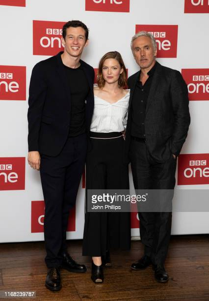 "Callum Turner, Holliday Grainger and Ben Miles attend ""The Capture"" Photocall at The Soho Hotel on August 15, 2019 in London, England."