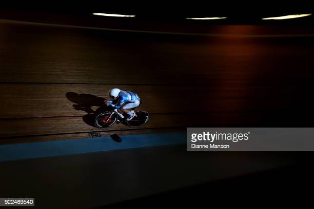 Callum Walsh of Auckland competes in the U19 Men 3000m IP during the New Zealand Track Cycling Championships on February 22 2018 in Invercargill New...