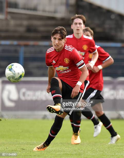 Callum Whelan of Manchester United during the NI Super Cup game between Manchester United u18s and Northern Ireland u18s at the Showgrounds on July...