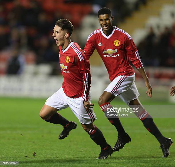 Callum Whelan of Manchester United U18s celebrates scoring their first goal during the FA Youth Cup third round match between Manchester United U18s...