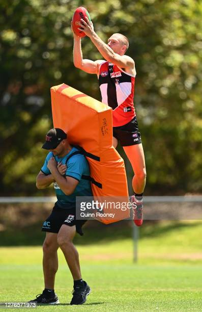 Callum Wilkie of the Saints marks during a St Kilda Saints AFL training session at Maroochydore Multi Sport Complex on September 25 2020 in Sunshine...