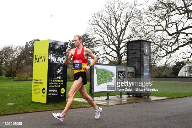 Callum Wilkinson competes in the mens 20km walking race during the Muller British Athletics Marathon and 20km Walk Trials at Kew Gardens on March 26,...