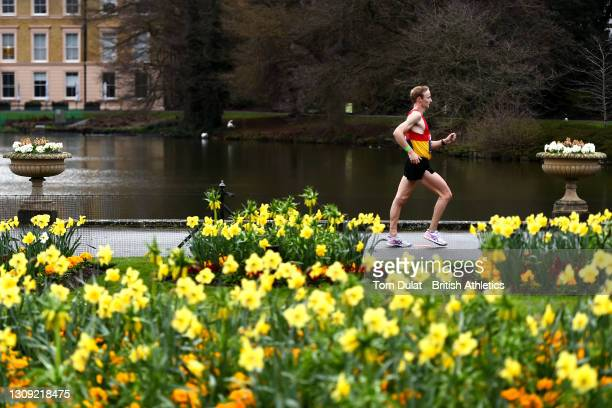Callum Wilkinson in action during the mens 20km walking race during the Muller British Athletics Marathon and 20km Walk Trials at Kew Gardens on...