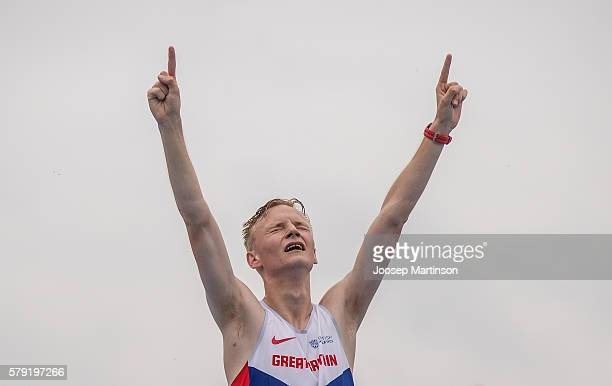 Callum Wilkinson of Great Britain celebrates winning a gold medal in men's 10 000 metres race walk during the IAAF World U20 Championships at the...