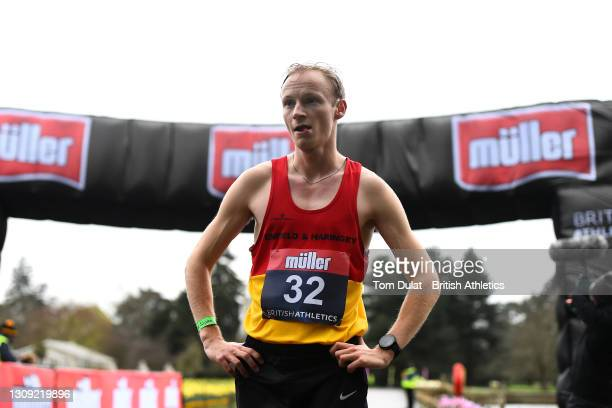 Callum Wilkinson reflects after he finishes the mens 20km walking race in first place during the Muller British Athletics Marathon and 20km Walk...