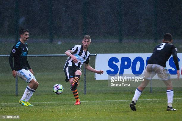 Callum Williams of Newcastle passes the ball during the Premier League 2 Match between Newcastle United and West Bromwich Albion at Whitley Park on...