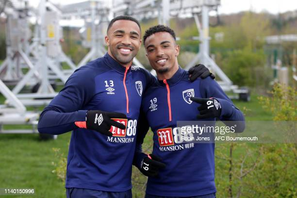 Callum Wilson and Junior Stanislas of Bournemouth during a training session at Vitality Stadium on April 03 2019 in Bournemouth England