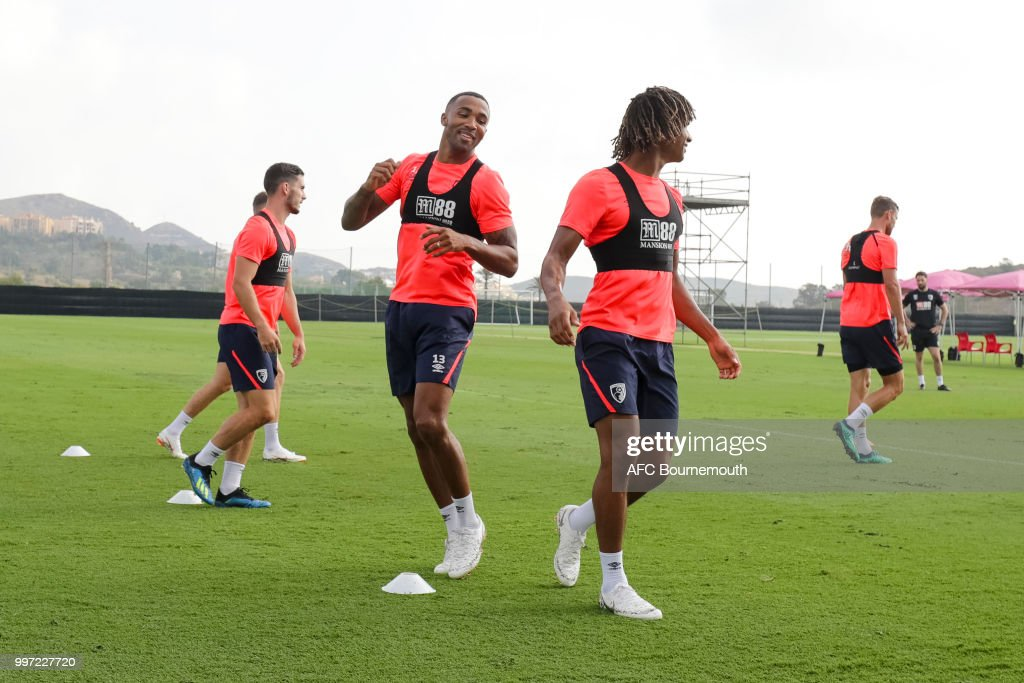 Callum Wilson and Nathan Ake of Bournemouth during training session at the clubs pre-season training camp at La Manga, Spain on July 12, 2018 in La Manga, Spain.