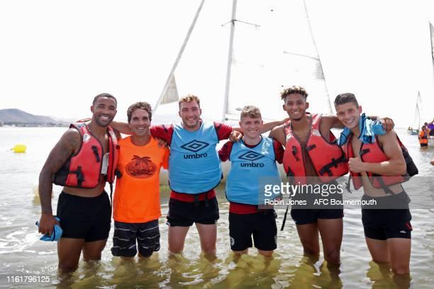 Callum Wilson Jack Stacey Gavin Kilkenny Lloyd Kelly and Alex Dobre of Bournemouth during a preseason team bonding sailing session at La Manga Club...