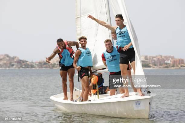 Callum Wilson Lloyd Kelly Jack Stacey Gavin Kilkenny and Alex Dobre of Bournemouth during a preseason team bonding sailing session at La Manga Club...