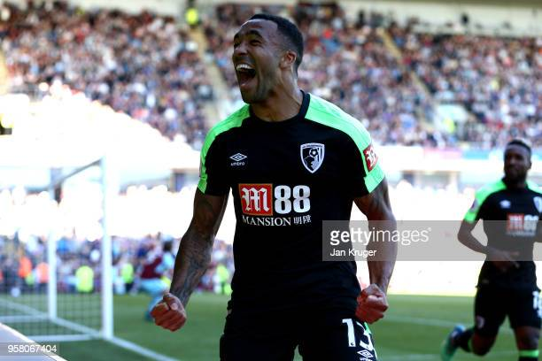 Callum Wilson of AFC Boucrnemouth elebrates after scoring his sides second goal during the Premier League match between Burnley and AFC Bournemouth...