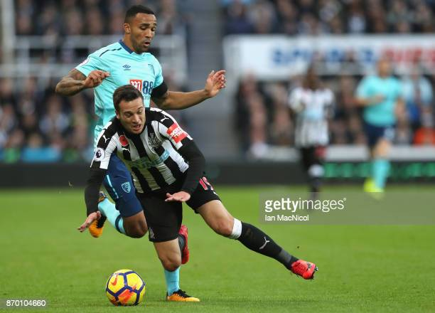 Callum Wilson of AFC Bournemouth and Javi Manquillo of Newcastle United in action during the Premier League match between Newcastle United and AFC...