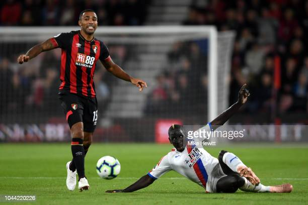 Callum Wilson of AFC Bournemouth battles for possession with Mamadou Sakho of Crystal Palace during the Premier League match between AFC Bournemouth...