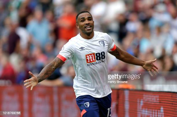 Callum Wilson of AFC Bournemouth celebrates after scoring his team's first goal during the Premier League match between West Ham United and AFC...