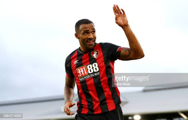 Callum Wilson of AFC Bournemouth celebrates after scoring his team's third goal during the Premier League match between Fulham FC and AFC Bournemouth...