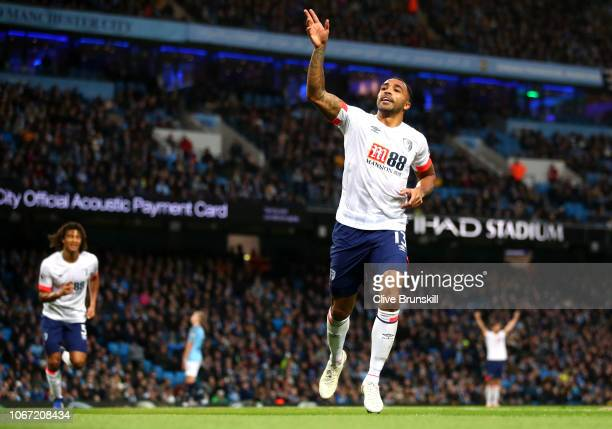 Callum Wilson of AFC Bournemouth celebrates after scoring his team's first goal during the Premier League match between Manchester City and AFC...