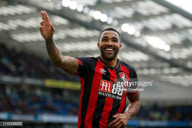 Callum Wilson of AFC Bournemouth celebrates after scoring his team's fourth goal during the Premier League match between Brighton Hove Albion and AFC...