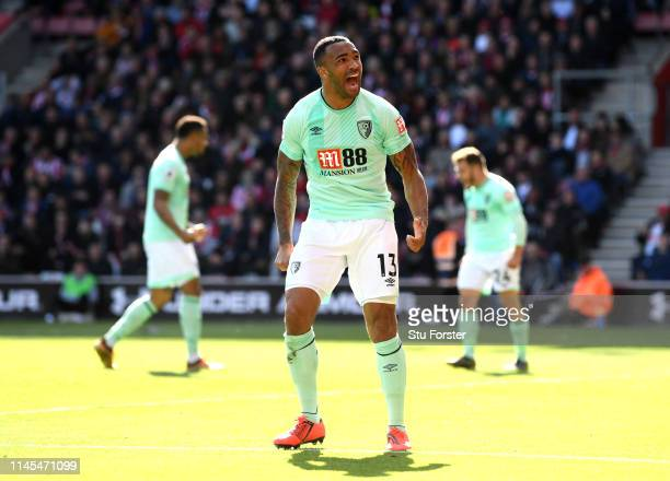 Callum Wilson of AFC Bournemouth celebrates after scoring his team's third goal during the Premier League match between Southampton FC and AFC...
