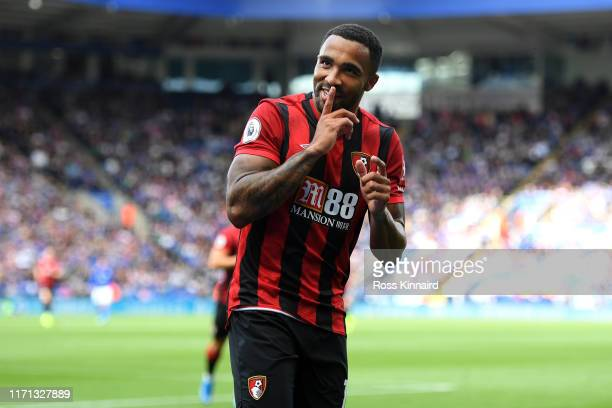 Callum Wilson of AFC Bournemouth celebrates after scoring his team's first goal during the Premier League match between Leicester City and AFC...