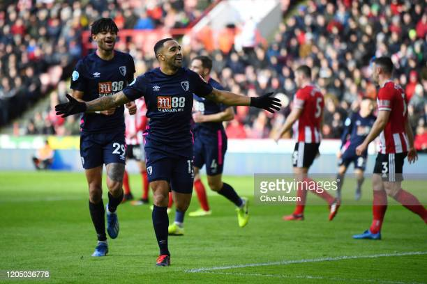 Callum Wilson of AFC Bournemouth celebrates after scoring his team's first goal during the Premier League match between Sheffield United and AFC...