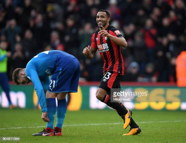 Callum Wilson of AFC Bournemouth celebrates after scoring the first AFC Bournemouth goal during the Premier League match between AFC Bournemouth and...