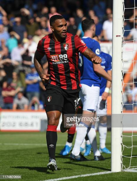Callum Wilson of AFC Bournemouth celebrates as he scores his team's first goal during the Premier League match between AFC Bournemouth and Everton FC...