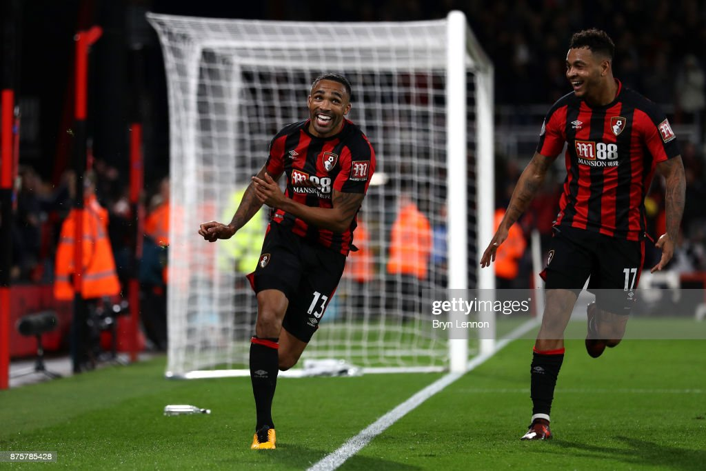 Callum Wilson of AFC Bournemouth celebrates his side's fourth and his hat trick goal during the Premier League match between AFC Bournemouth and Huddersfield Town at Vitality Stadium on November 18, 2017 in Bournemouth, England.