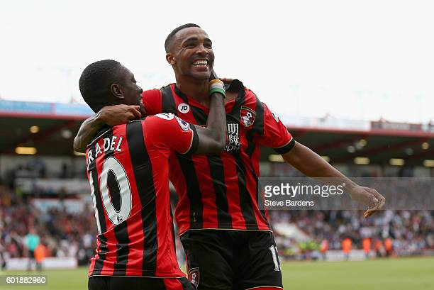 Callum Wilson of AFC Bournemouth celebrates scoring his sides first goal with Max Gradel of AFC Bournemouth during the Premier League match between...
