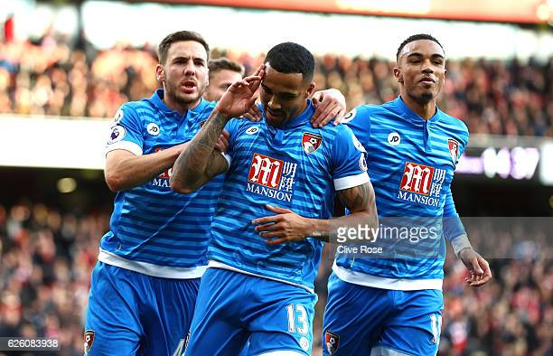 Callum Wilson of AFC Bournemouth celebrates scoring his sides first goal with Dan Gosling of AFC Bournemouth and Junior Stanislas of AFC Bournemouth...