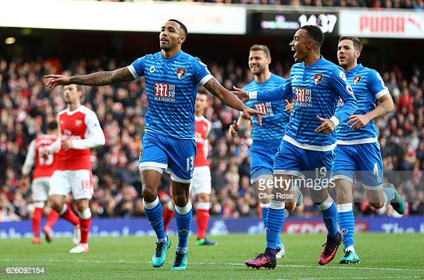 Callum Wilson of AFC Bournemouth celebrates scoring his sides first goal during the Premier League match between Arsenal and AFC Bournemouth at...