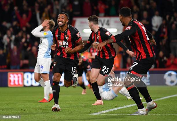 Callum Wilson of AFC Bournemouth celebrates scoring his side's third goal during the Carabao Cup Third Round match between AFC Bournemouth and...