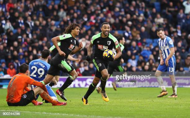 Callum Wilson of AFC Bournemouth celebrates scoring his team's second goal during the Premier League match between Brighton and Hove Albion and AFC...