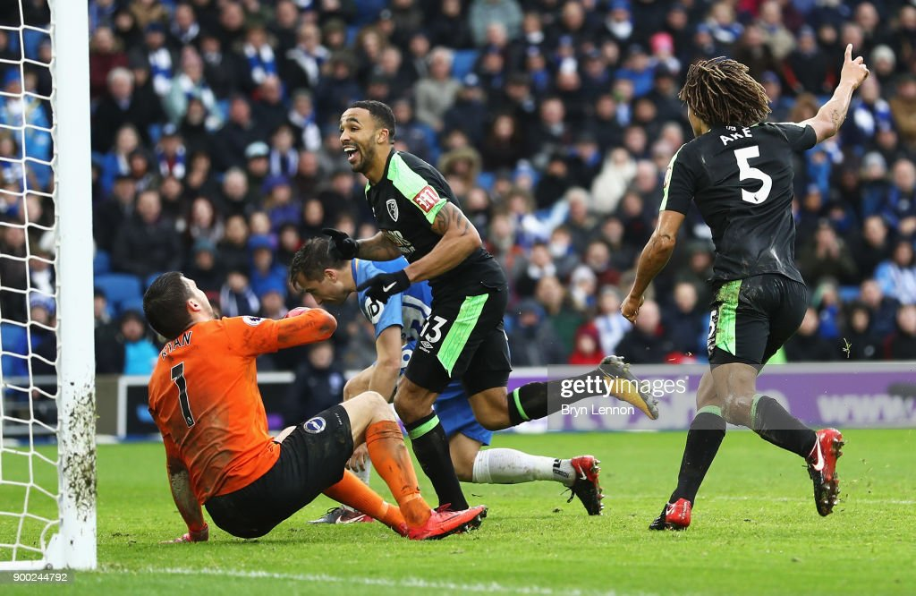 Callum Wilson of AFC Bournemouth celebrates scoring his team's second goal during the Premier League match between Brighton and Hove Albion and AFC Bournemouth at Amex Stadium on January 1, 2018 in Brighton, England.