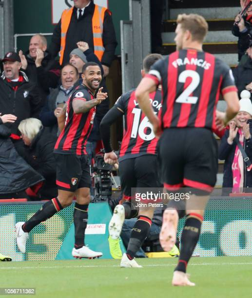 Callum Wilson of AFC Bournemouth celebrates scoring their first goal during the Premier League match between AFC Bournemouth and Manchester United at...