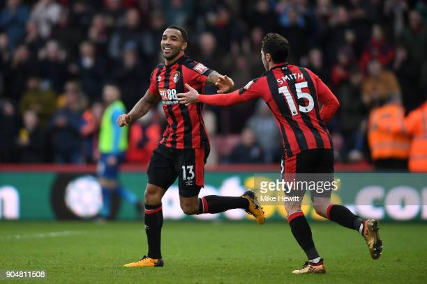 Callum Wilson of AFC Bournemouth celebrates with team mate Adam Smith after scoring the first AFC Bournemouth goal during the Premier League match...
