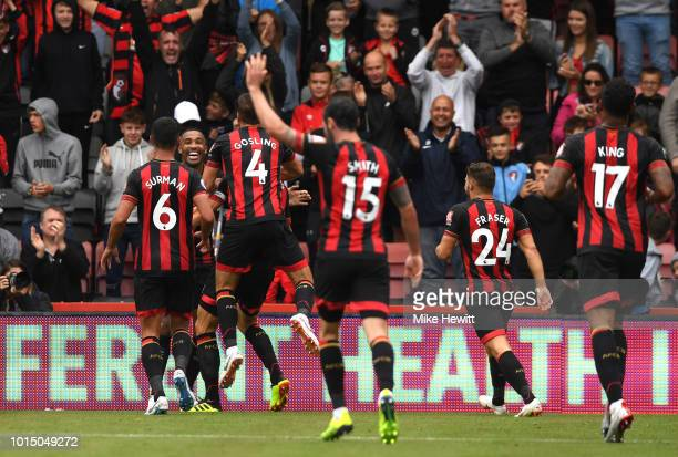 Callum Wilson of AFC Bournemouth celebrates with teammates after scoring his team's second goalduring the Premier League match between AFC...