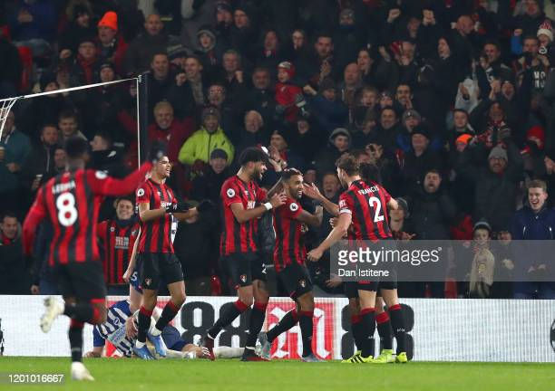 Callum Wilson of AFC Bournemouth celebrates with teammates after scoring his team's second goal during the Premier League match between AFC...