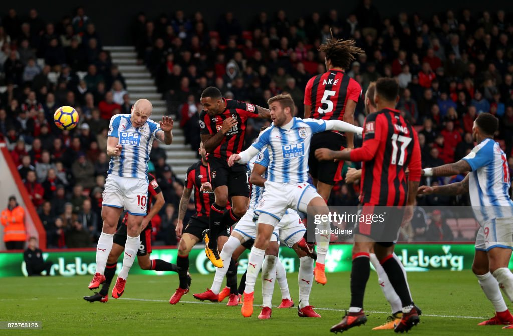 Callum Wilson of AFC Bournemouth heads the ball to score the opening goal during the Premier League match between AFC Bournemouth and Huddersfield Town at Vitality Stadium on November 18, 2017 in Bournemouth, England.