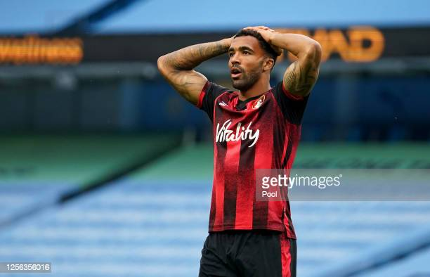 Callum Wilson of AFC Bournemouth in action during the Premier League match between Manchester City and AFC Bournemouth at Etihad Stadium on July 15,...