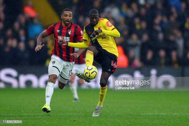 Callum Wilson of AFC Bournemouth in action with Abdoulaye Doucoure of Watford during the Premier League match between Watford FC and AFC Bournemouth...
