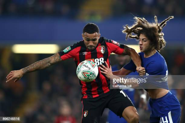 Callum Wilson of AFC Bournemouth is challenged by Ethan Ampadu of Chelsea during the Carabao Cup QuarterFinal match between Chelsea and AFC...