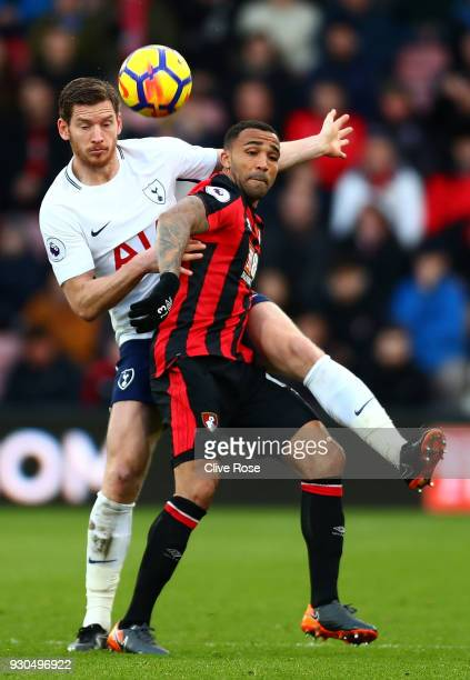 Callum Wilson of AFC Bournemouth is challenged by Jan Vertonghen of Tottenham Hotspur during the Premier League match between AFC Bournemouth and...