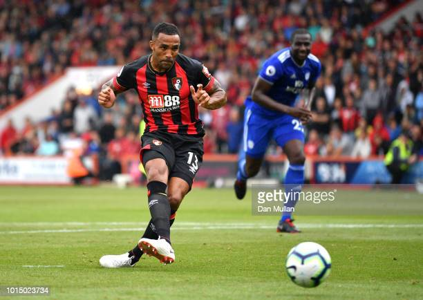 Callum Wilson of AFC Bournemouth misses a penalty during the Premier League match between AFC Bournemouth and Cardiff City at Vitality Stadium on...