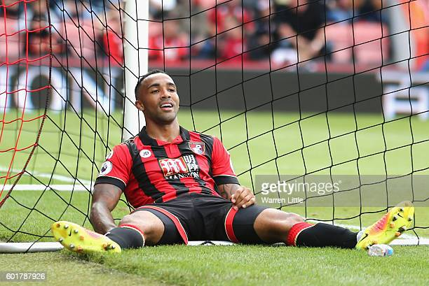 Callum Wilson of AFC Bournemouth reacts after missing a chance during the Premier League match between AFC Bournemouth and West Bromwich Albion at...