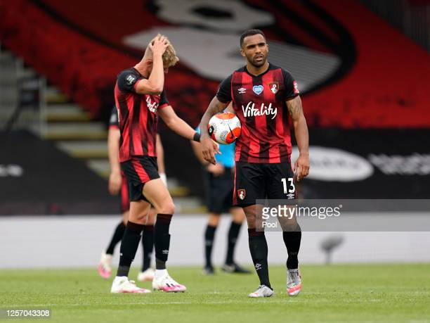 Callum Wilson of AFC Bournemouth reacts after the Premier League match between AFC Bournemouth and Southampton FC at Vitality Stadium on July 19,...